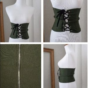 Love Culture Accessories - Women's NEW! Army Green Corset Belt, Size Small